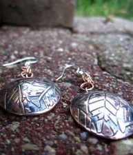 Round Copper Leaf Earrings