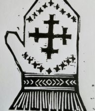 Latvian mitten with a krustu krusts (double cross design)