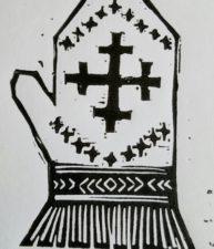 Latvian mitten with a krustu krusts (double cross design)