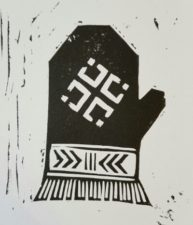 Latvian mitten with a mēness (moon design)