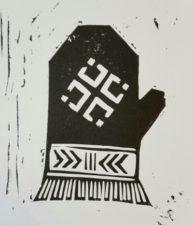 Latvian mitten with a mēness (moon design)